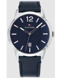 Tommy Hilfiger - 1791496 Blue Leather Watch - Lyst