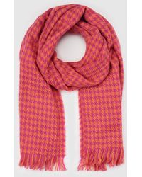 Green Coast - Pink Hounds-tooth Check Print Foulard - Lyst