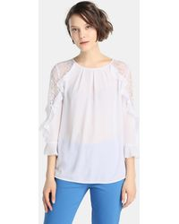 Yera - Blouse With Lace And Frill - Lyst