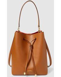 43ee24c4b8b Lauren by Ralph Lauren - Brown Calfskin Leather Bucket Bag With Orange  Interior - Lyst