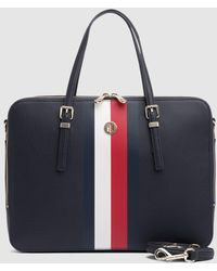 Tommy Hilfiger - Navy Blue Portfolio With Three-tone Stripe - Lyst