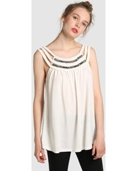 Vero Moda | T-shirt With Plaiting And Rhinestones | Lyst