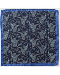 Mirto - Navy Blue Silk Pocket Square With A Contrasting Embellished Print - Lyst