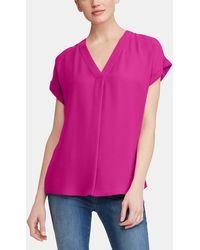 Lauren by Ralph Lauren - Fuchsia Blouse With Short Sleeves - Lyst