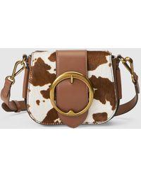e15f0b94d83 Polo Ralph Lauren - Lennox Medium Crossbody Bag In Brown And Cream Haircalf  - Lyst