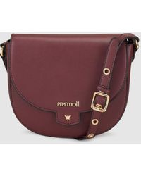 Pepe Moll - Wo Burgundy Crossbody Bag With Flap - Lyst