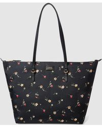 Lauren by Ralph Lauren - Black Nylon Tote Bag With Floral Print - Lyst