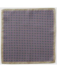 Mirto - Navy Blue Embellished Print Silk Pocket Square - Lyst
