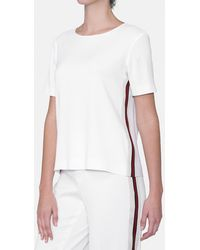 Mirto - Short Sleeved Top With Side Stripes - Lyst