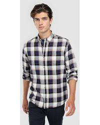 Green Coast - Slim-fit Blue Checked Flannel Shirt - Lyst