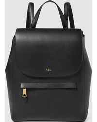Lauren by Ralph Lauren - Wo Black Leather Backpack With Flap - Lyst
