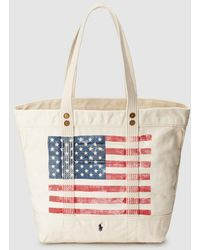 02090192e6 Polo Ralph Lauren - Medium Off-white Cotton Tote Bag With Printed Detail -  Lyst