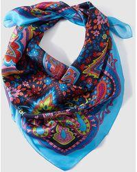 El Corte Inglés - Skye Blue Paisley Print Silk Handkerchief - Lyst