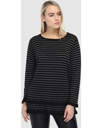 Couchel - Plus Size Striped Jumper With Frill - Lyst