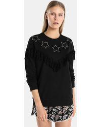 Green Coast - Black Sweatshirt With Studs And Fringe - Lyst