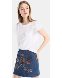 Green Coast - Denim Skirt With Floral Embroidery - Lyst