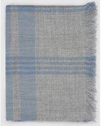 El Corte Inglés - Grey Foulard With Blue Checks - Lyst
