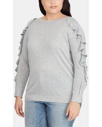 Denim & Supply Ralph Lauren - Plus Size Grey Jumper With Frill - Lyst