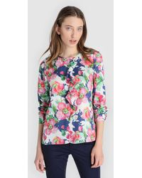 Yera - Floral Print Blouse With Frill - Lyst
