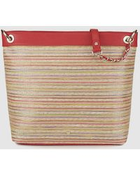 Gloria Ortiz - New Clementine Large Red Canvas Shopper Bag With Multicoloured Stripes - Lyst