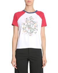 RED Valentino - Cotton Jersey T-shirt With Tree Print - Lyst