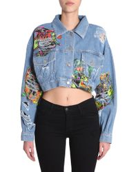 Jeremy Scott - Light Blue Cotton Jacket - Lyst