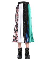 MSGM - Pleated Satin Skirt - Lyst