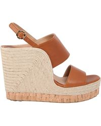 Ferragamo - Leather And Rope Wedges - Lyst