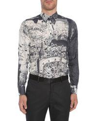 """Alexander McQueen - """"""""london Map"""" Print Cotton And Silk Shirt - Lyst"""