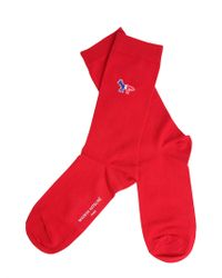 Maison Kitsuné Long Socks With Iconic Fox Patch