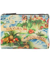 DSquared² | Pouch In Canvas E Pvc Stampa Hawaii | Lyst