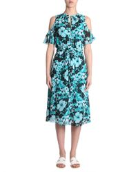 MICHAEL Michael Kors - Long Flower Printed Dress With Cut Out Detail - Lyst
