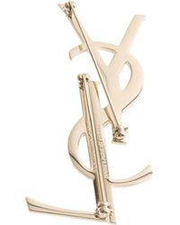 Saint Laurent - Deconstructed Monogram Brass Brooch - Lyst