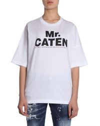 DSquared² - Round Collar Leisure Fit Cotton T-shirt With Mr. Caten Print - Lyst