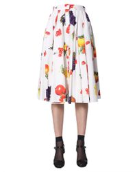 MSGM Fruit Print Midi Skirt - White