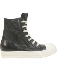 Rick Owens - Trainer In Pelle Destroyed Con Cap Toe In Gomma - Lyst