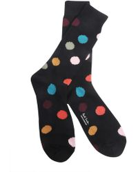 Paul Smith - Polka Dots Printed Cotton Blend Socks - Lyst