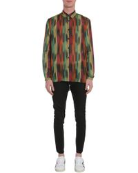 Saint Laurent - Long Yves Collar Shirt In Printed Cotton Voile - Lyst