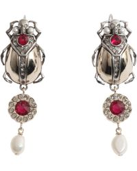 Alexander McQueen - Beetle Skull Brass Earrings - Lyst