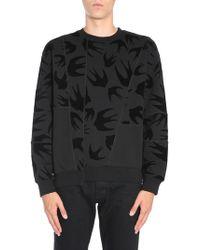 McQ - Round Collar Sweatshirt With Velvet Swallow Print - Lyst