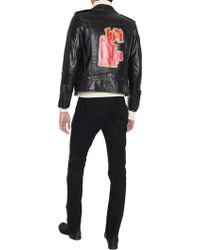 Saint Laurent - GIUBBOTTO BIKER A STAMPA 1971 IN PELLE VINTAGE EFFETTO USED  - Lyst bc568ed2a29