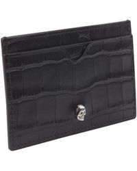 Alexander McQueen - Croco-embossed Leather Card Holder With Skull - Lyst
