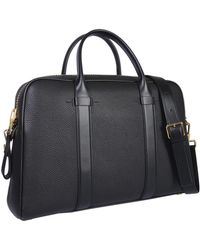 Tom Ford - Tumbled Leather Briefcase Bag With Shoulder Strap - Lyst