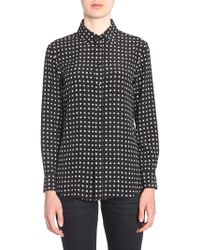 Saint Laurent - Crêpe De Chine Silk Shirt With Parsi Collar And Stars Print - Lyst