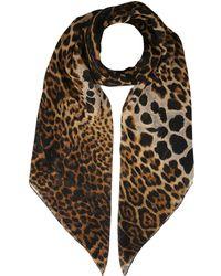 Saint Laurent Leopard Print Scarf - Brown