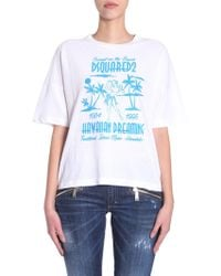 DSquared² - Hawaiian Dreaming Printed Round Collar Cotton T-shirt - Lyst