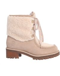 Tory Burch - STIVALE MEADOW IN SHEARLING E PELLE SCAMOSCATA - Lyst