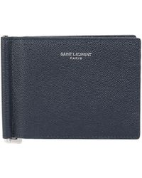 Saint Laurent - Leather Card Holder In Grained Leather - Lyst