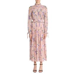 MSGM   Flower Printed Silk Dress   Lyst