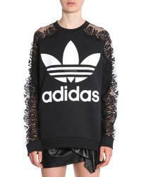 Stella McCartney - Sweatshirt With Lace Insert In Co-lab With Adidas - Lyst
